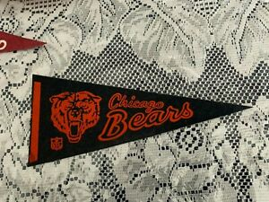 """Chicago Bears 1970's NFL Football Mini Pennant, 4"""" x 9"""" Inches,"""