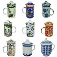 FSH260 Feng Shui Chinese Porcelain Mug Tea Cup with Lid - Many Designs