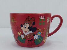 Minnie Mouse Christmas Disney Store Gold Rim Red Ceramic Mug