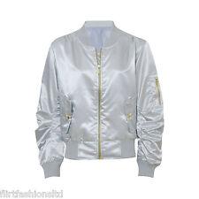 Womens Ladies Ma1 Bomber Satin Jacket Coat Biker Army Celeb Thin Summer Vintage UK L (14) Silver
