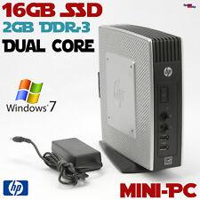DUAL CORE MINI THIN PC COMPUTER HP 16GB SSD 2GB DDR3 DUAL HEAD WINDOWS 7 19WATT