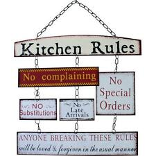 Vintage Shabby chic Metal style kitchen Rules sign plaque Board WP_06714