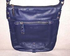 Edel New Bags Blau Damen Hand Tasche Schwarz Leder Schultertasche Umhängetasche