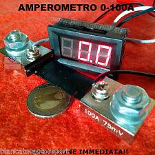 AMPEROMETRO PANNELLO DC 100A LED ROSSO SHUNT auto moto camper digitale car audio