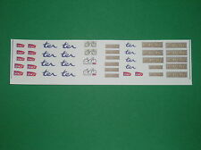 KIT.TRAIN HO.DECALCOMANIES.LOGOS.LOCOMOTIVES.TER. RAMES CORAIL.FOND TRANSPARENT
