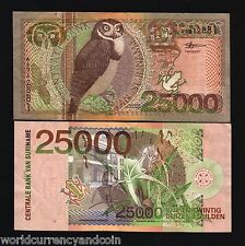 SURINAME 25000 GULDEN P154 2000 MILLENNIUM OWL FROG MAP RARE CURRENCY BILL NOTE