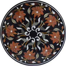 "18""x18"" Black Round Design Marble Inlay Table Top"