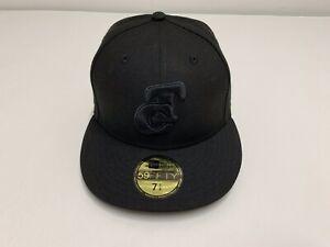 New Era LMP Tomateros CULIACAN Sz 7 1/4 Baseball BLACKOUT 59FIFTY Fitted Hat Cap