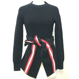 GIVENCHY Front Tie Knit Sweater Cotton / Nylon Black x Red x White