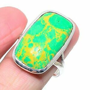 Copper Turquoise Gemstone Handmade 925 Sterling Silver Jewelry Ring Size 9