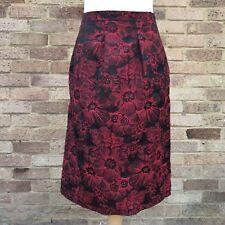 Bonmarche Skirt UK 18 Red Black Floral Textured Pockets Lined Goth Vamp