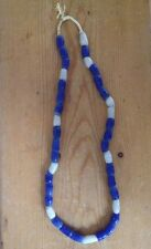 Vintage African Recycled Rough Blue White Glass String Trade Beads Necklace 13""
