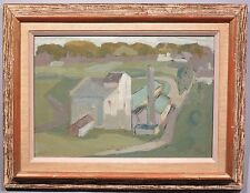 1958 Modernist Cubist Industrial landscape Impressionist oil painting factory