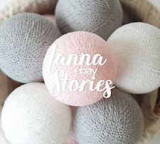 20 Cotton Ball String Lights BEDROOM Lights Night Light Pastel Pink Grey White