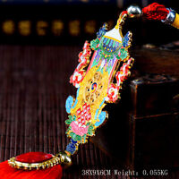 Tibetan Tibet Buddhist  Eight Auspicious Symbo Plating 2Side Amulet Car Pendant