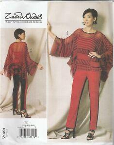 Vogue Sewing Pattern V1491 Miss Zandra Rhodes Handkerchief Hem Tunic Pants 16-26