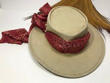 Medium Jacaru Australia Woman's Leather Hat with Red Scarf