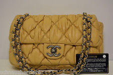 Chanel Beige Bubble Quilted Single Flap Bag