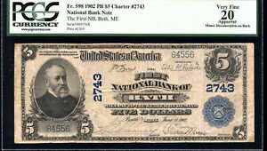 1902 $5 First National Bank Bath, ME Fr. 598 VF20 PCGS 80427251