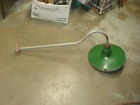 "VINTAGE GREEN PORCELAIN LIGHT SHADE 14"" YARD  BARN LIGHT GAS STATION LIGHT"