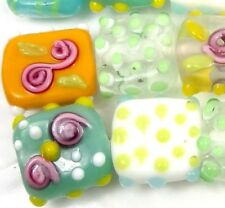 "Lampwork Handmade Glass ""Spring Feast"" Square/Rectangle Beads (7)"