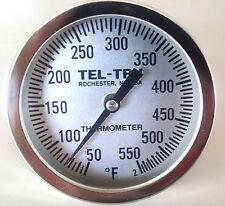 """Tel-Tru BQ500 BBQ Grill Smoker Thermometer 5"""" Dial w/ 6"""" Stem 50-550"""