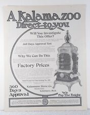 Antique 1900 Kalamazoo Pot Belly Wood Cast Iron Stove 1904 Print Ad - Art Poster