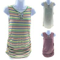 Glitz Maternity Striped Sleeveless V Neck Tunic Top Casual