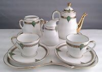 Vintage GOLD GREEN Mini Coffee Set Demitasse Cups Square Tray Porcelain French