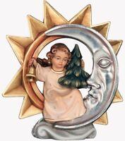 ANGELO DEL NATALE SCOLPITO IN LEGNO DELLA VALGARDENA DECORATO A MANO CM 18