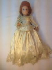 """Vtg Composition Bride Doll 11"""" Painted Velvet Blue eyes Jointed Arms Legs 1930's"""