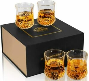 4-Piece Whisky Glass Set, Lead Free Crystal Whiskey Tumbler - gift -Fathers Day