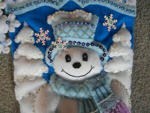 "New Finished 18"" Bucilla Snowflake Snowman Christmas Felt Stocking Complete"