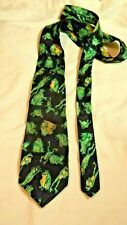 BLACK WITH GREEN AND YELLOW FROGS TIE NOVELTY DESIGN 62 INCHES LONG