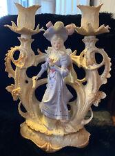 """Antique 1880's Unger Schneider German Double Candlestick, Bisque DEP 8109 10"""""""