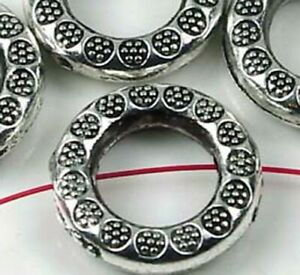 6 Antique Silver Pewter Ring Frame Imprint Beads 21mm