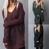 ZANZEA 10-24 Women Long Sleeve Tunic Blouse Shirt Tee Side Slit Ladies Basic Top