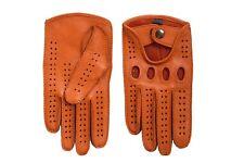 Orange Men's Driving Leather Gloves Deerskin