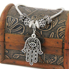 Hot Hamsa Hand Evil Eye Pendant Retro Bead Bangle Bracelet Gifts Jewelry Charm