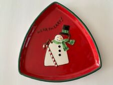 Christmas Fitz & Floyd Essentials Merry Snowman Red Candy Cane stripes Plate