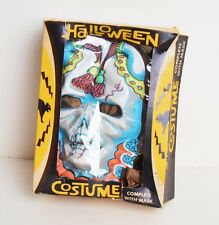 Vintage 50s 60s Jester Skeleton Skull Halloween Costume Mask in Box Large 12-14