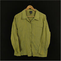 Eileen Fisher Blouse Shirt  Top Green Women's Medium Button Up Cotton Slit Side