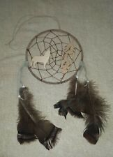 """Dreamcatcher HOWLING WOLF & FEATHER 17"""" Feathered Tribal OA Regalia Pow Wow  D49"""