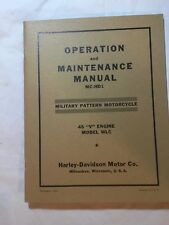 Harley WLC Canadian Operation Service Repair Manual Book WWII 1942-1945 MC-HD1