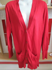 Atmosphere - Red fine Knit Crew Neck 4 button cardigan Size 8/36 Cashmere Blend