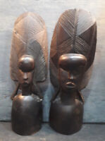 2- Vintage Carved Wooden African Tribal Statue Figurine Heads.Bookends,Ornament.