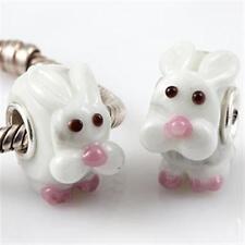 NEW 925 Silver Murano Glass Lampwork Rabbit Bunny Charm European Bracelet Bead