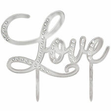 Silver Jewel LOVE Wedding Engagement Party Electroplated Cake Topper Decoration