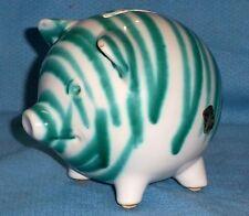 Vintage Gmundner Keramik Austrian Green Stripe Ceramic Piggy Pig Bank