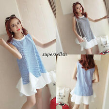 New Summer Korean Women College Striped A Line Shirt Short Dress Sundress Blue S